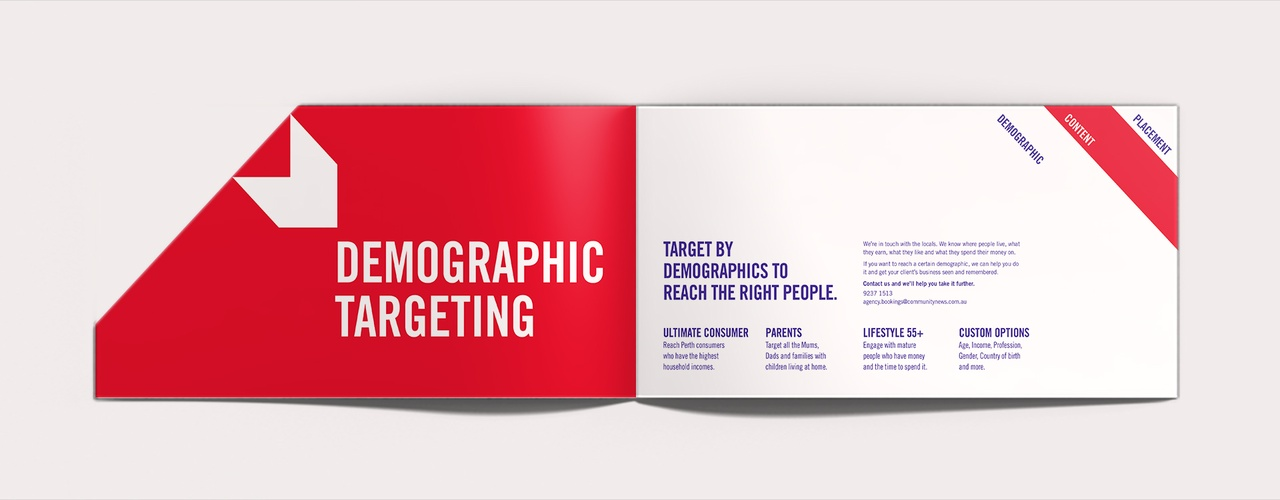 Strong graphic & typographic content spreads