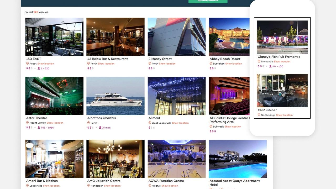 Venue Listings Page