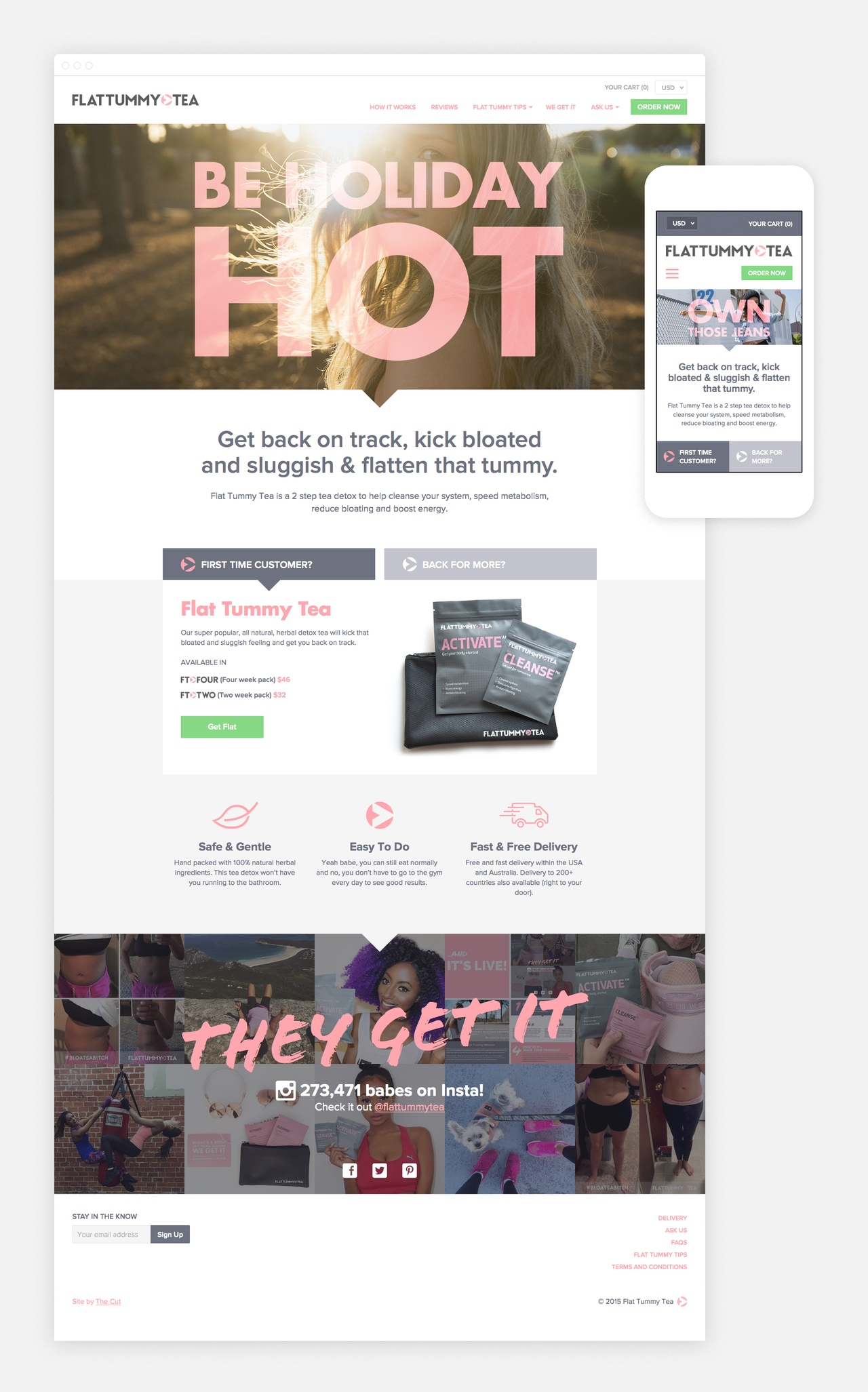 The Homepage combines big branding with purchase Calls To Action