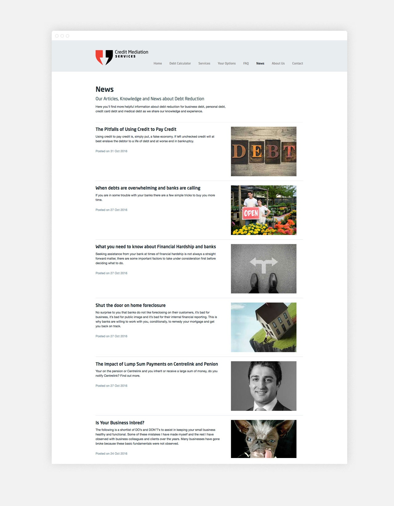 A neat and tidy list page for Blog Articles