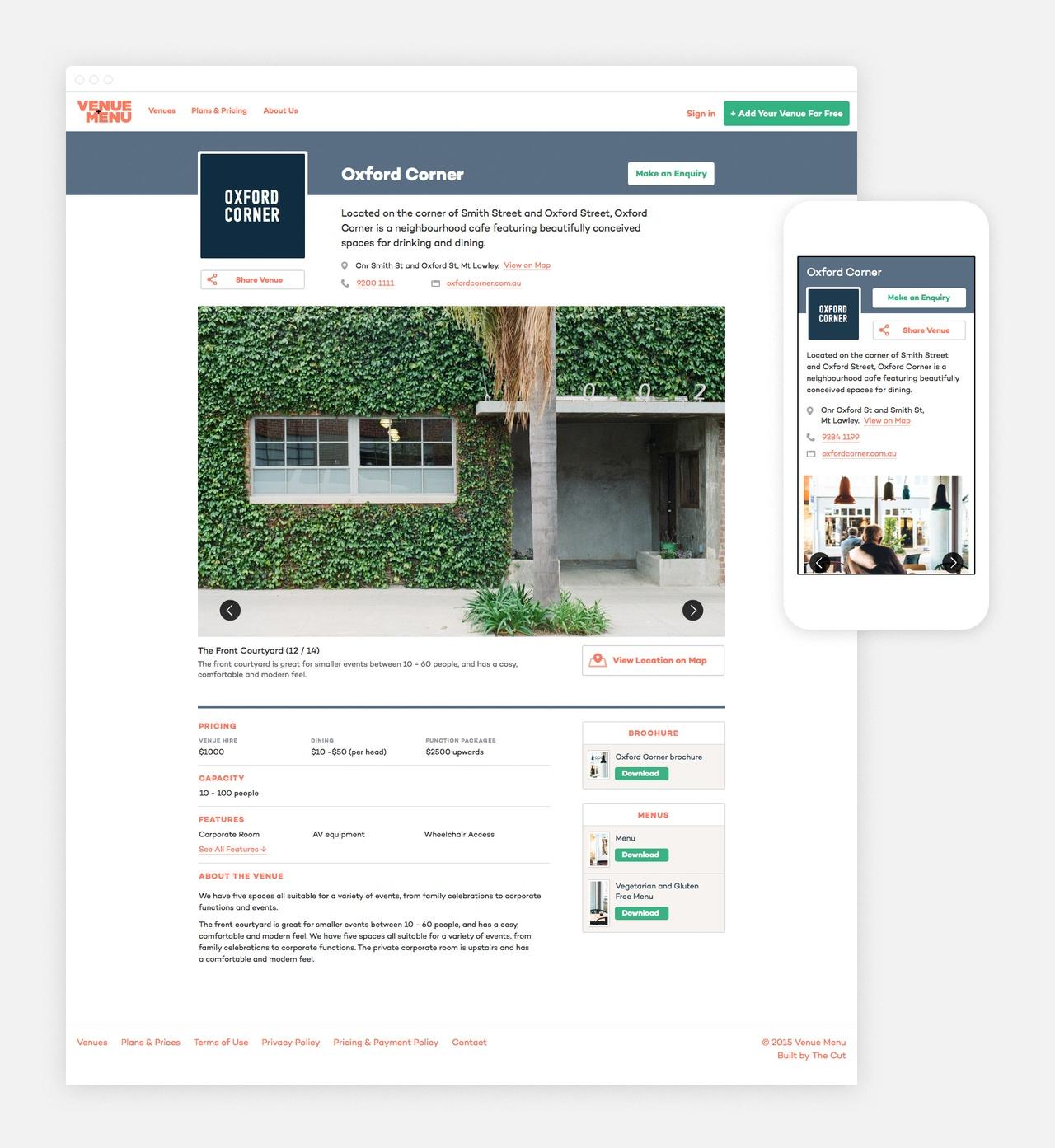 Venue Profile Page