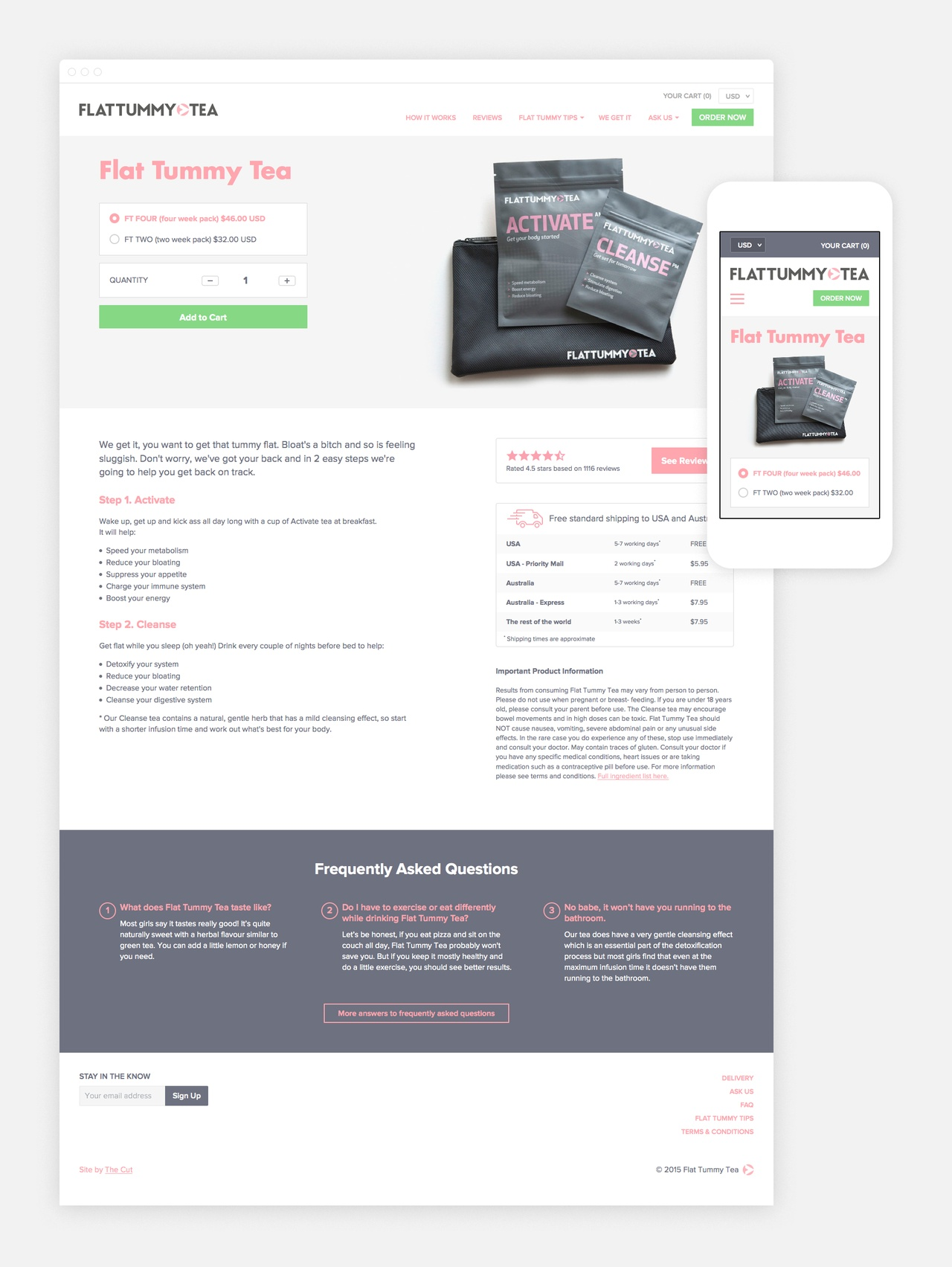 Product Pages encourage purchase & deliver information
