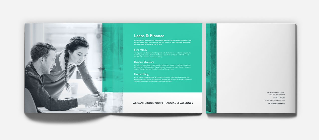 Corporate brochure, spread and back cover
