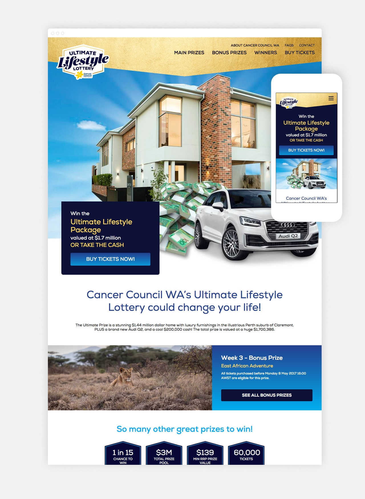 The Ultimate Lifestyle Lottery responsive homepage