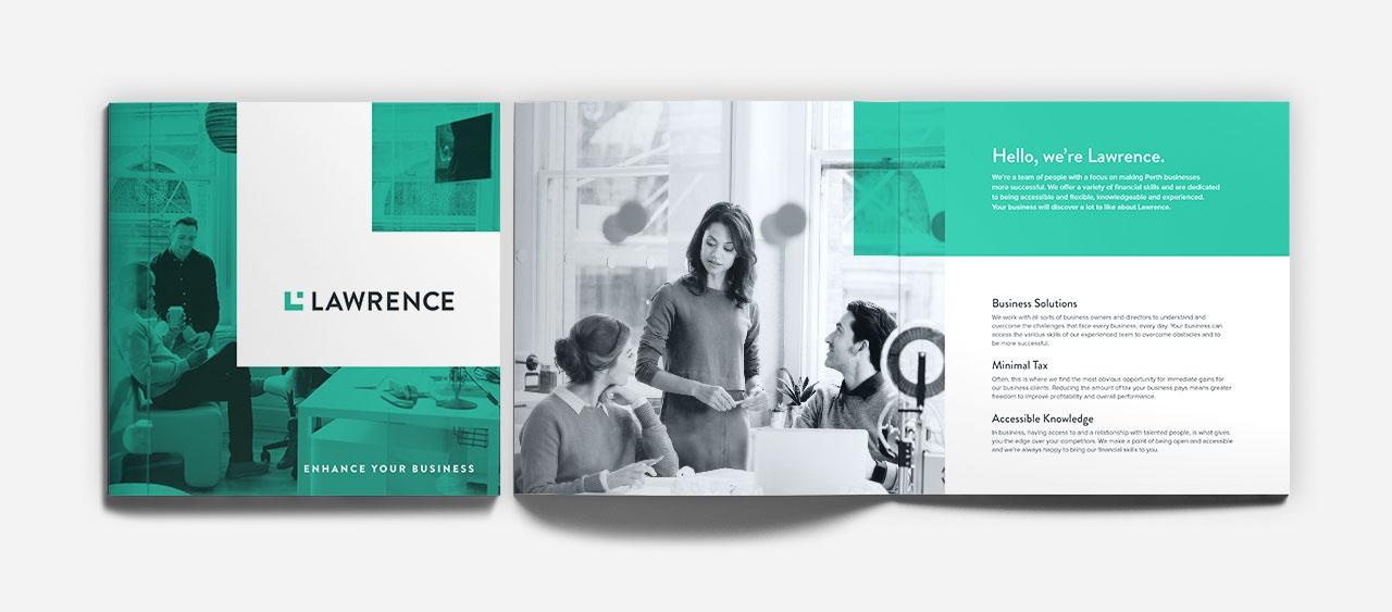 Corporate brochure design, cover and spread