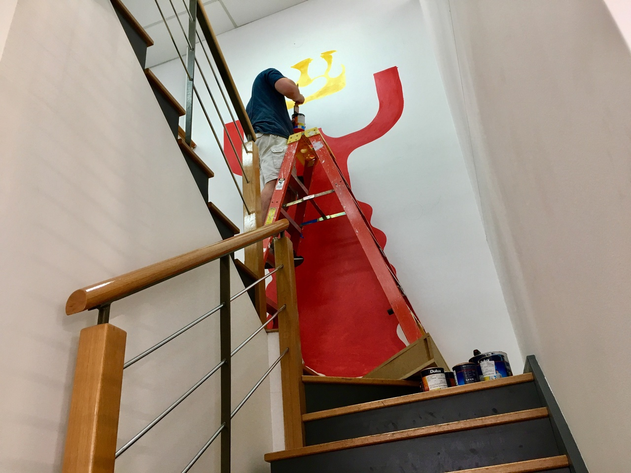 Up the stairs, up the ladder and in progress.