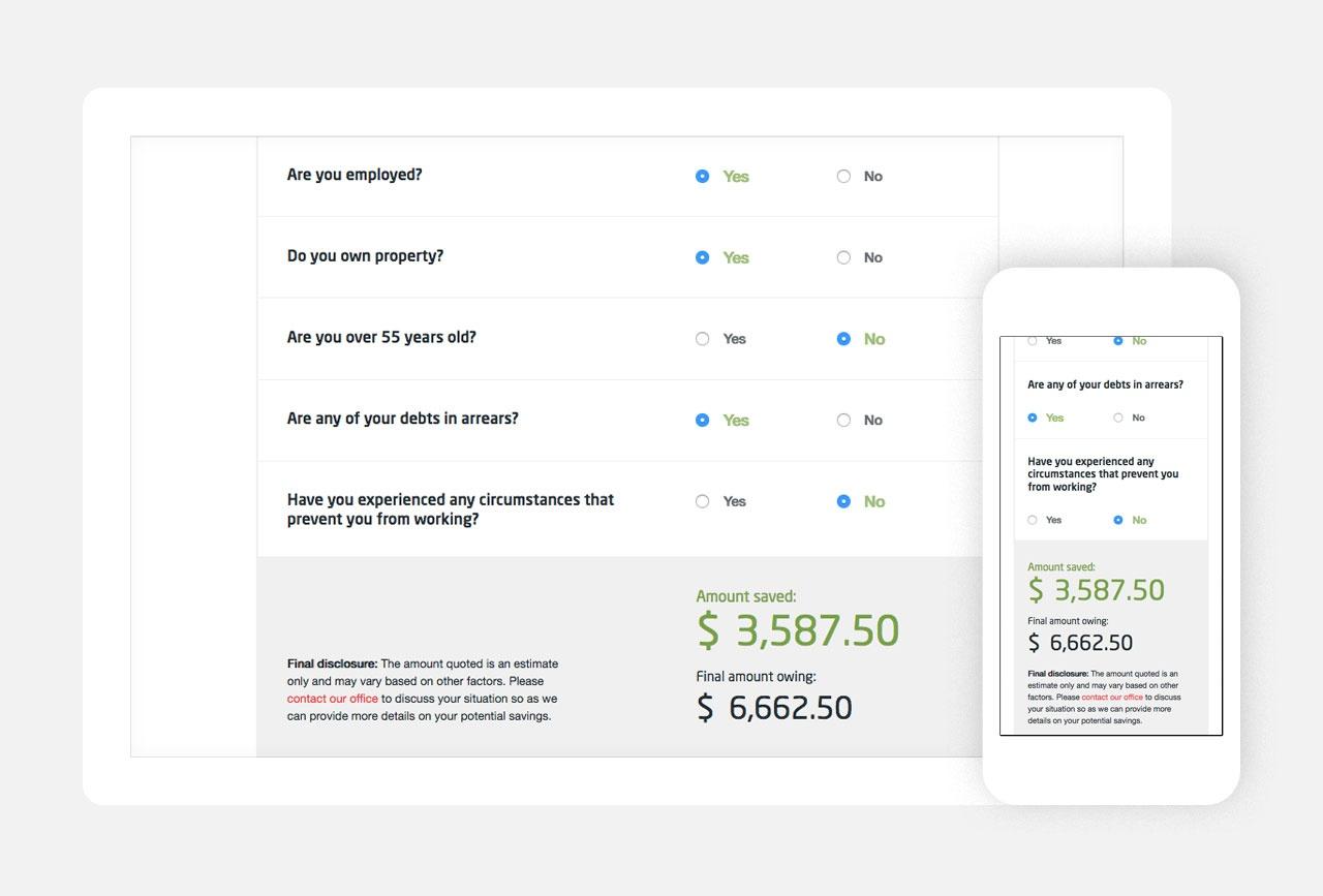 Custom feature, the debt calculator